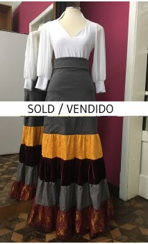 Grey Canastera Long-Skirt w/Yellow & Burgundy