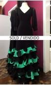 Green w/Polka-dots Long Skirt 6 Ruffles w/Lace