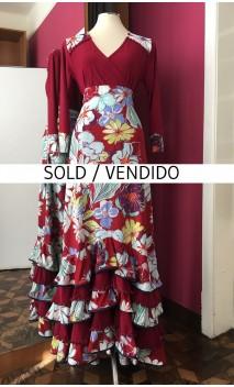 Conjunto Falda & Blusa Burdeos Floral