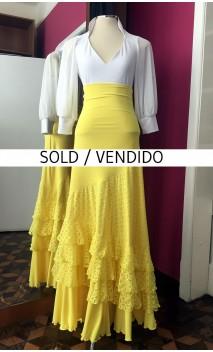 Yellow Long-Skirt 4 Ruffles w/Yellow Devourê