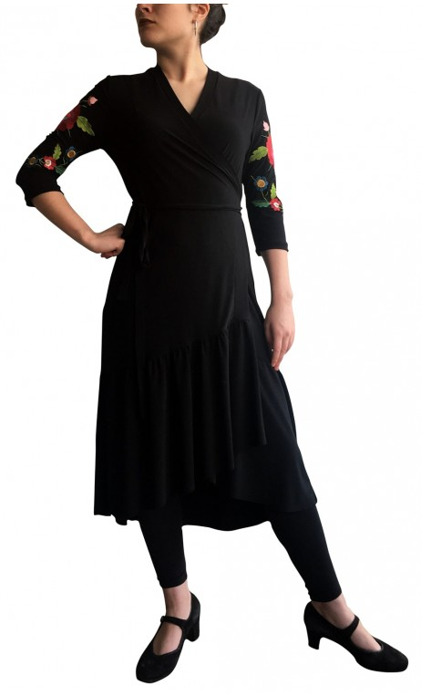Embroidered Sophie Wrap Over Mid-Dress