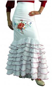 Falda Flamenca Santa Rosa 8 Volantillos Bordada