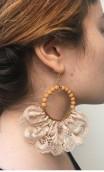 Nude Earrings, Satin Flower & Single Flower Apliqué w/ Laces Set
