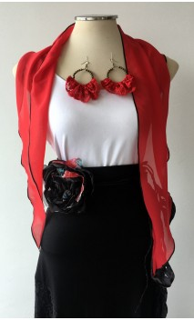 Red Scarf, Earrings & Apliqué w/ Laces Set