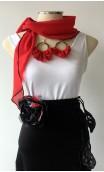 Red Scarf, Earrings & Apliqué w/ Laces Set