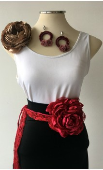 Burgundy & Gold Earrings, Satin Flower & Single Flower Apliqué w/ Laces Set