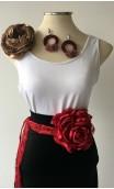 Burgundy & Gold Earrings, Satin Flower & Single Flower Apliqué w/ Laces Set