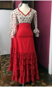 Conjunto Blusa Beige Floral y Falda Roja 6 Volantes