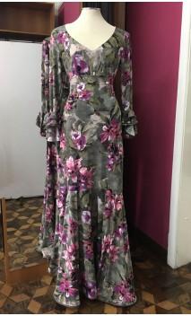 Conjunto Blusa y Falda Extra Godet Verde Floral