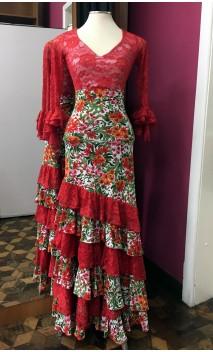Conjunto Falda & Blusa Blanco Floral y Rojo