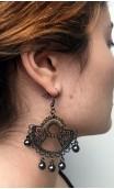 Beige Scarf, Earring & 1 Flower Belt Set