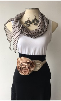 Beige Scarf, Earring & 1 Flower Belt Set