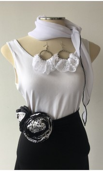 Black & White Scarf, Earring & 2 Flowers Set