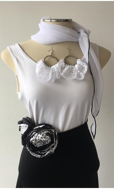 Black & White Scarf, Earring & 2 Flowers Set