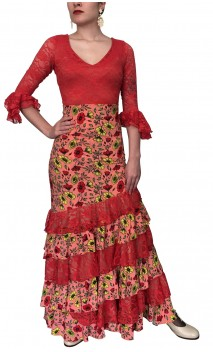 Coral Floral Skirt & Top Set w/ Lace