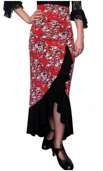 Saia Flamenco Agnes 1 Babado Estampada