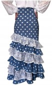 Polka-dots Long-skirt Leonor 6 Ruffles w/ Lace