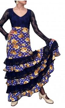Conjunto Blusa y Falda Estampado c/Encajes