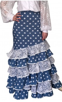 Polka-dots Long-skirt Leonor 6 Ruffles w/ Lace