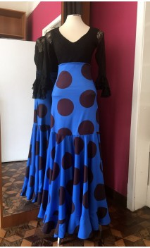 Blue w/Polka-dots Long-Skirt Extra Godet