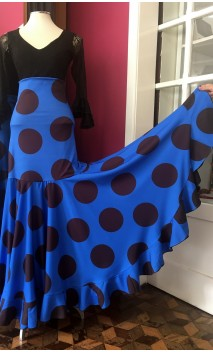 Blue w/Polka-dots Long-Skirt Extra Godet