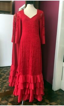 Red Lace Long-Dress 4 Ruffles