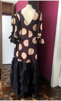 Black w/Golden Polka-dots Long-Dress 5 Ruffles