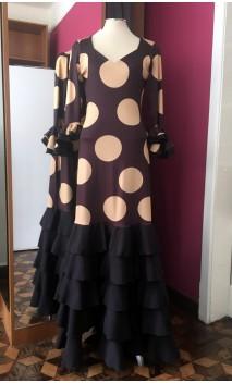 Vestido Negro c/Lunares Dorados 5 Volantes