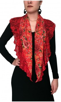 Floral Scarf w/Lace Ruffle