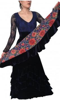 Floral Scarf w/Velvet Ruffle