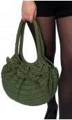 Bolso en Crochet Verde con Flores Aplicadas