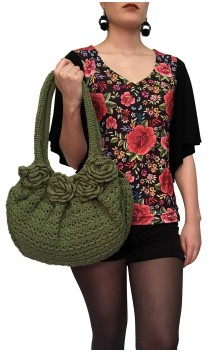 Green Crochet Bag w/Applied Flowers