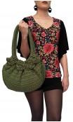 Bolsa de Crochet Verde c/Flores Aplicadas