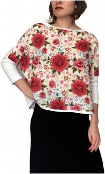 Blusa Branca Chiffon Flores