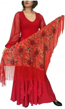 Mantoncillo Flamenco Rojo Floral c/Flecos