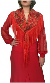 Red Floral Flamenco Shawl w/Fringe