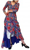 Floral Blue Mercedes Flamenco Godet Long Dress