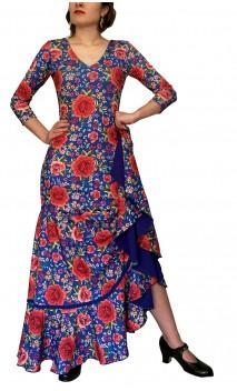 Vestido Flamenco Mercedes Azul Floral Godet