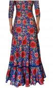 Vestido Flamenco Mercedes Azul Floral Godê