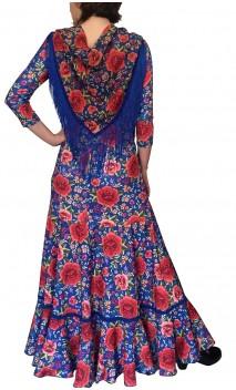 Mantoncillo Flamenco Azul Floral c/Flecos