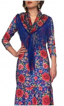 Blue Floral Flamenco Shawl w/Fringe