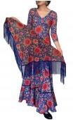 Blue Floral Flamenco Shawl w/Fringe