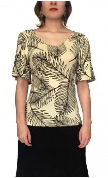 Grace Beige Blouse w/Black Leaves