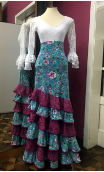 Floral Light Blue Flamenco Skirt 6 Ruffles w/Fuchsia Lace