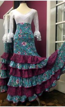 Saia Flamenca Azul Claro Floral 6 Babados c/Renda Fucsia