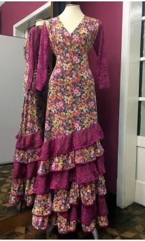 Conjunto Flamenco Falda & Blusa Fucsia Floral