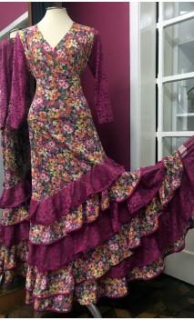 Conjunto Flamenco Saia e Blusa Fucsia Floral