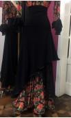 Black Floral Flamenco Skirt & Blouse Set w/Lace