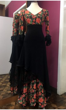 Black Floral Flamenco Skirt & Blouse Set w/Lace