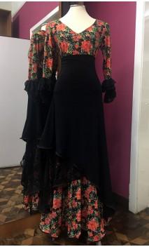Conjunto Flamenco Falda & Blusa Negro Floral c/Encajes